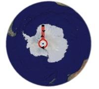 """Le """"triangle"""" qu'aurait pu parcourir l'explorateur autour du pôle Sud"""
